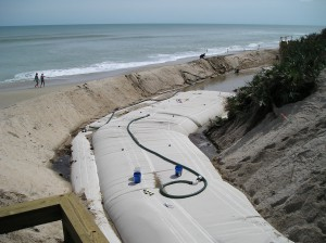 Custom Erosion Control Bladder in use on a Florida beach.